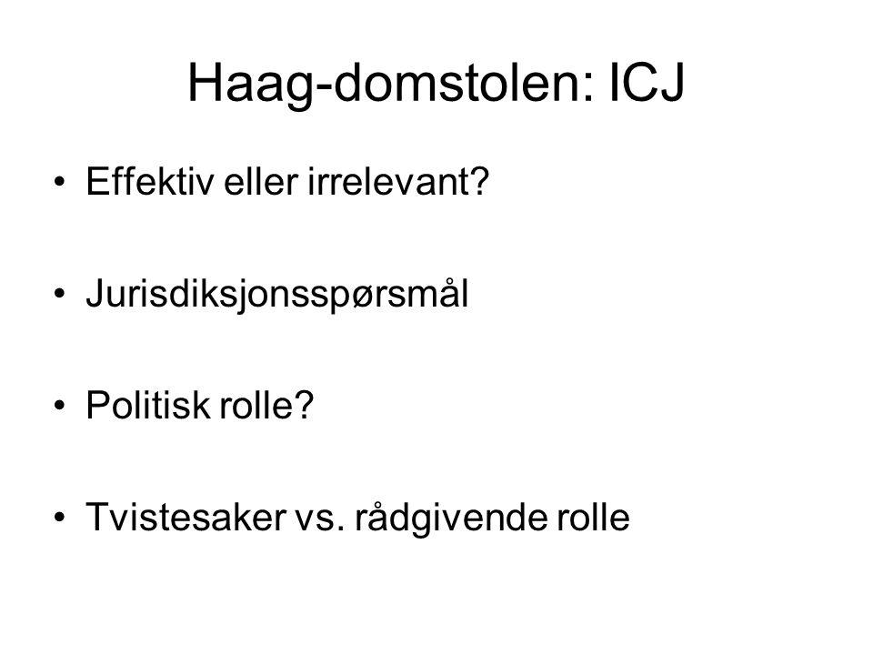 Haag-domstolen: ICJ Effektiv eller irrelevant Jurisdiksjonsspørsmål
