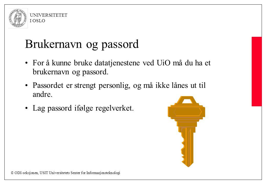 Brukernavn og passord For å kunne bruke datatjenestene ved UiO må du ha et brukernavn og passord.