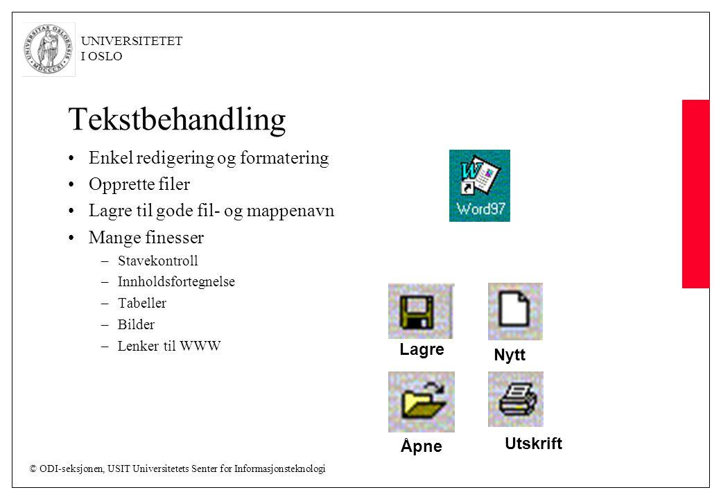 Tekstbehandling Enkel redigering og formatering Opprette filer