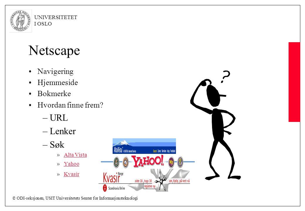 Netscape URL Lenker Søk Navigering Hjemmeside Bokmerke