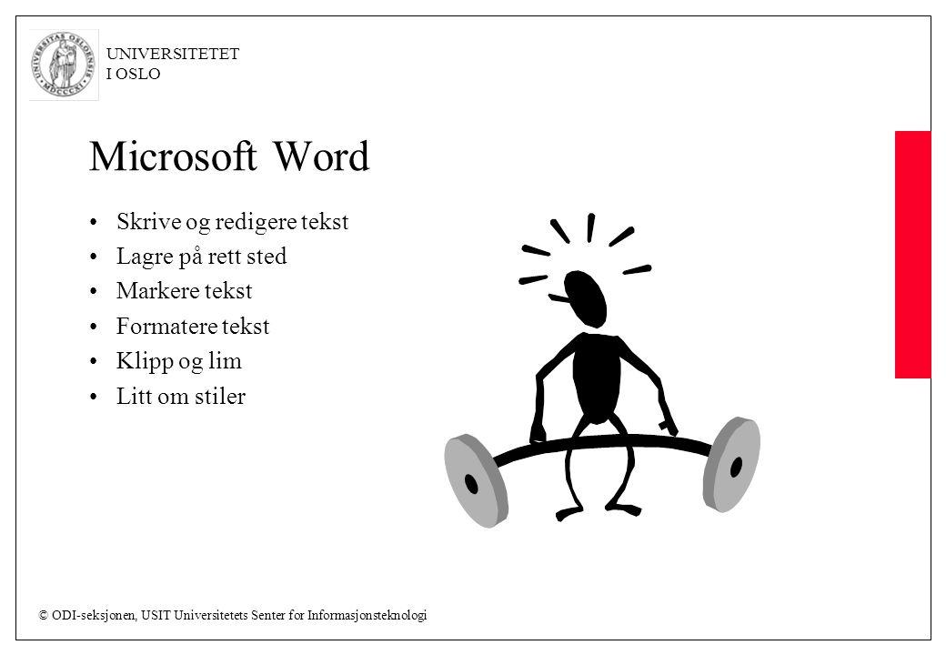 Microsoft Word Skrive og redigere tekst Lagre på rett sted