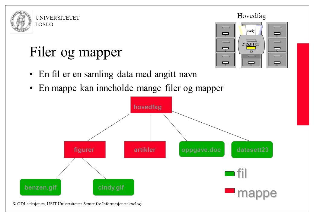 Filer og mapper fil mappe En fil er en samling data med angitt navn