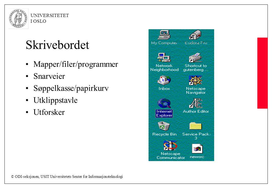 Skrivebordet Mapper/filer/programmer Snarveier Søppelkasse/papirkurv