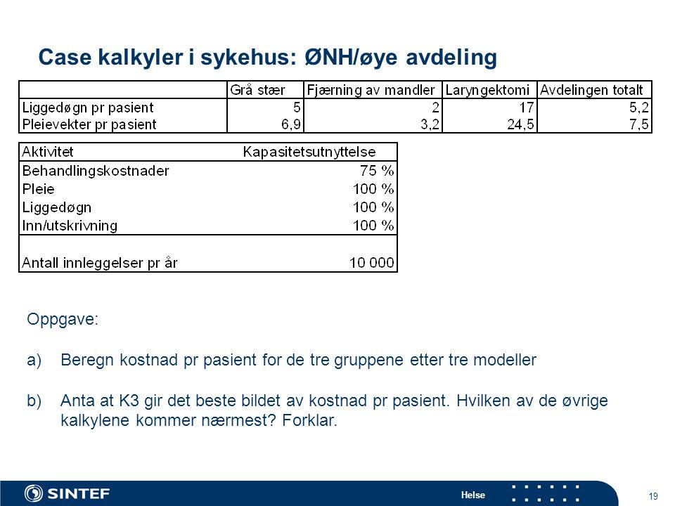 Case kalkyler i sykehus: ØNH/øye avdeling