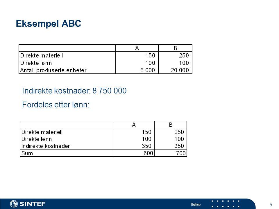 Eksempel ABC Indirekte kostnader: 8 750 000 Fordeles etter lønn: