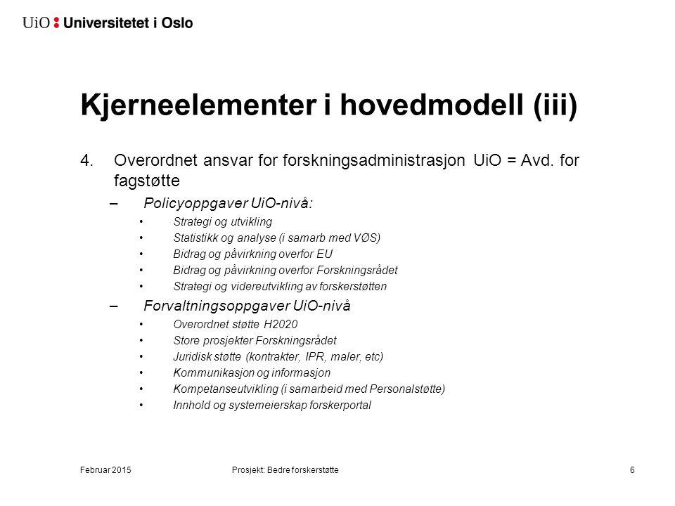 Kjerneelementer i hovedmodell (ii)
