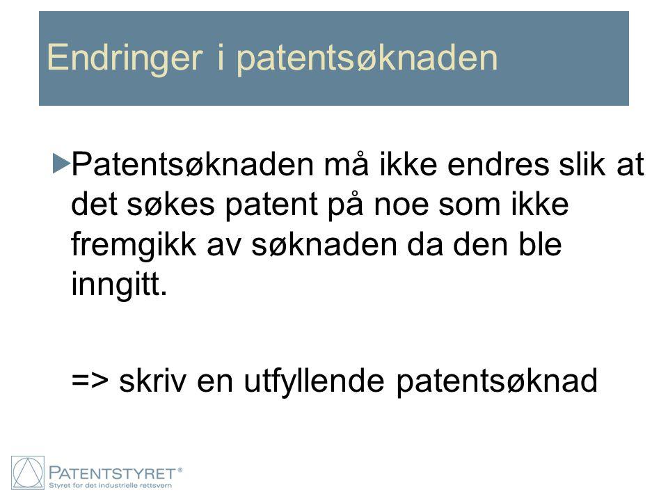 Endringer i patentsøknaden