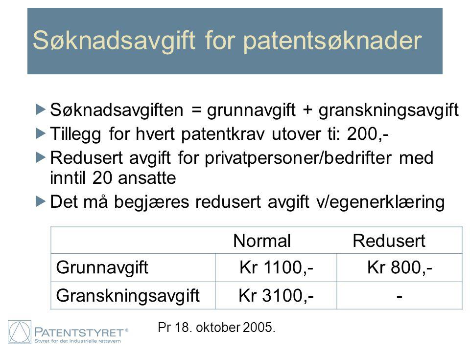 Søknadsavgift for patentsøknader