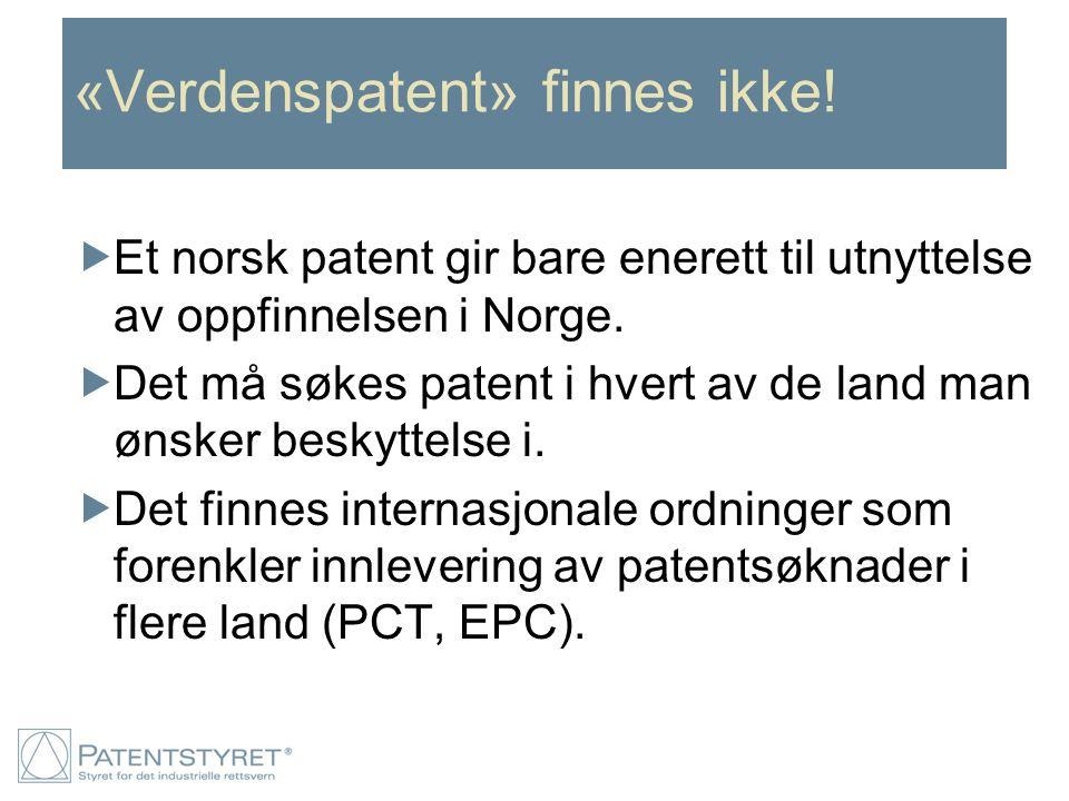 «Verdenspatent» finnes ikke!