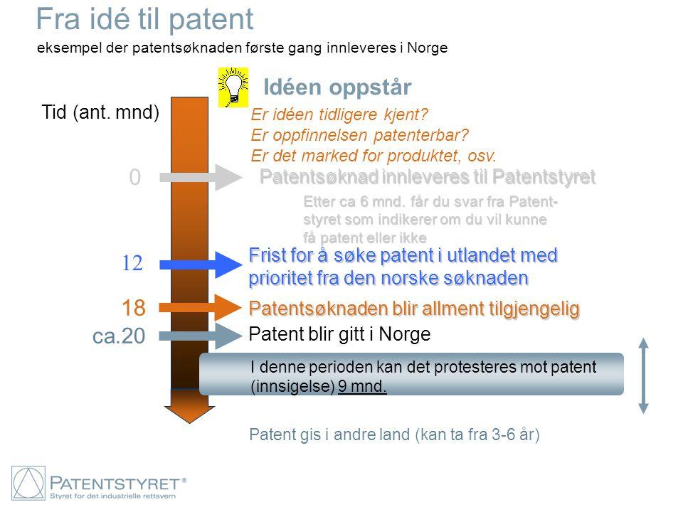 eksempel der patentsøknaden første gang innleveres i Norge