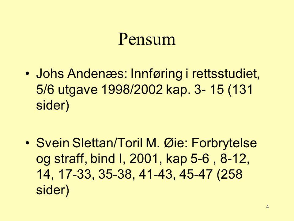 Pensum Johs Andenæs: Innføring i rettsstudiet, 5/6 utgave 1998/2002 kap. 3- 15 (131 sider)