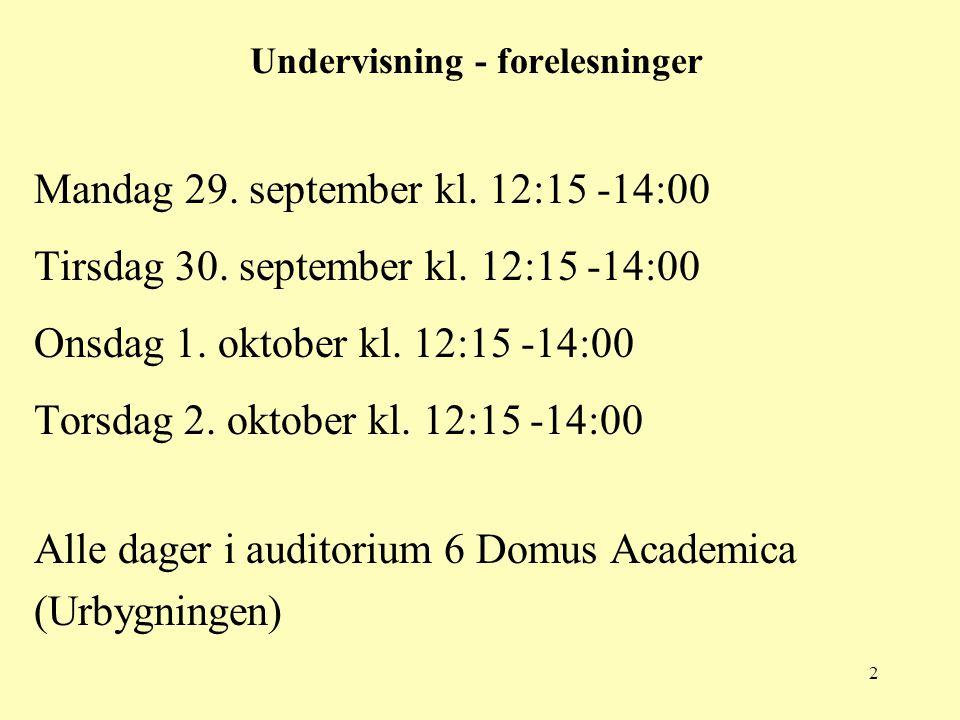 Undervisning - forelesninger