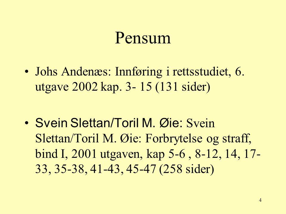 Pensum Johs Andenæs: Innføring i rettsstudiet, 6. utgave 2002 kap. 3- 15 (131 sider)