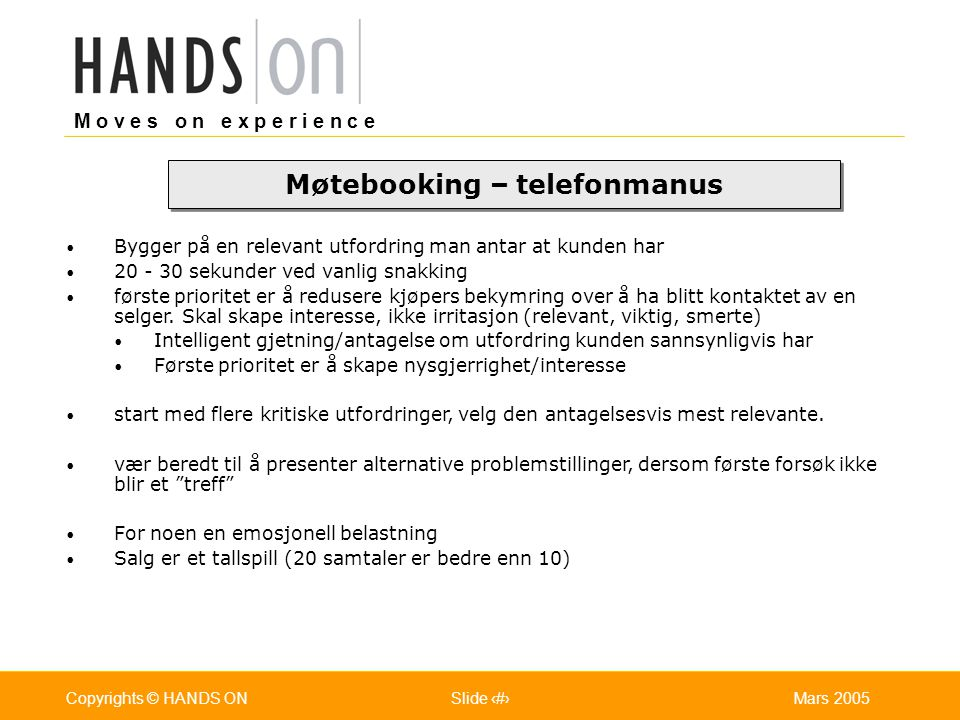 Møtebooking – telefonmanus