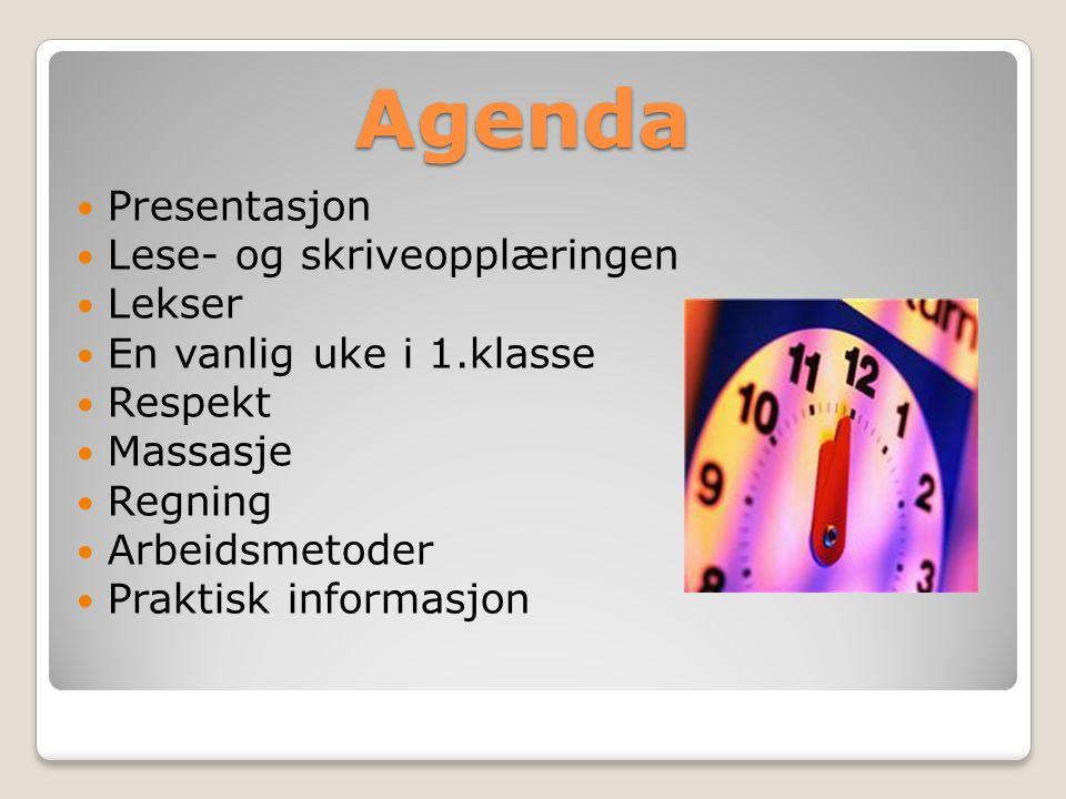 Agenda Presentasjon Lese- og skriveopplæringen Lekser