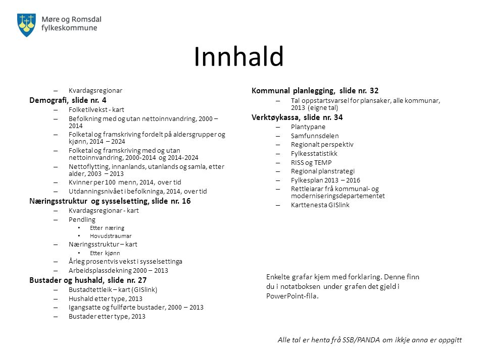 Innhald Kommunal planlegging, slide nr. 32 Demografi, slide nr. 4