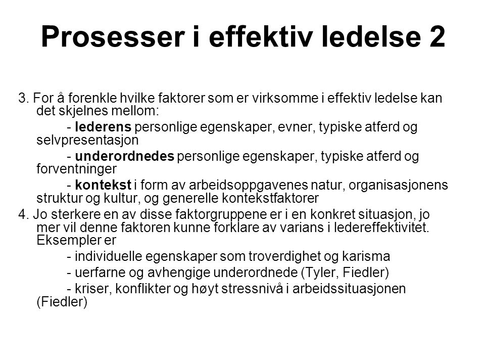 Prosesser i effektiv ledelse 2