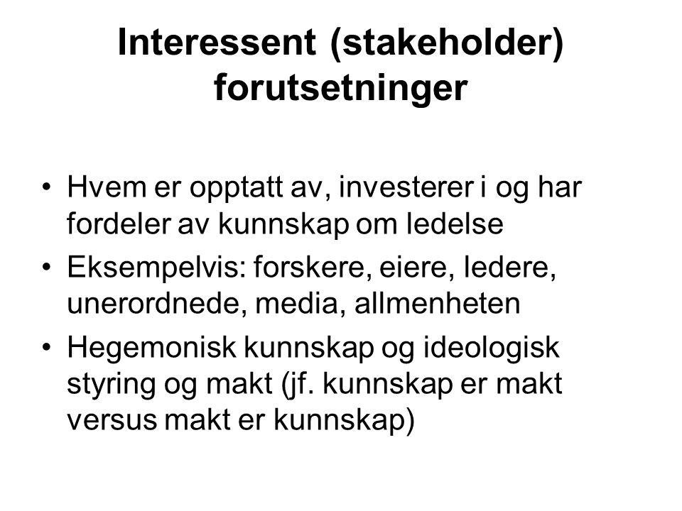 Interessent (stakeholder) forutsetninger