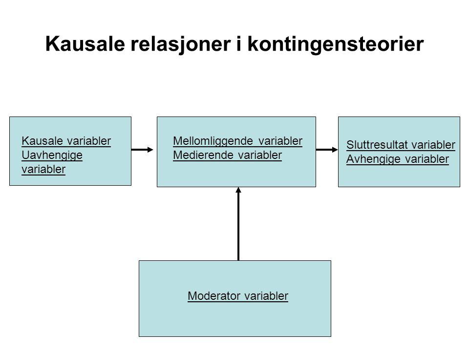 Kausale relasjoner i kontingensteorier
