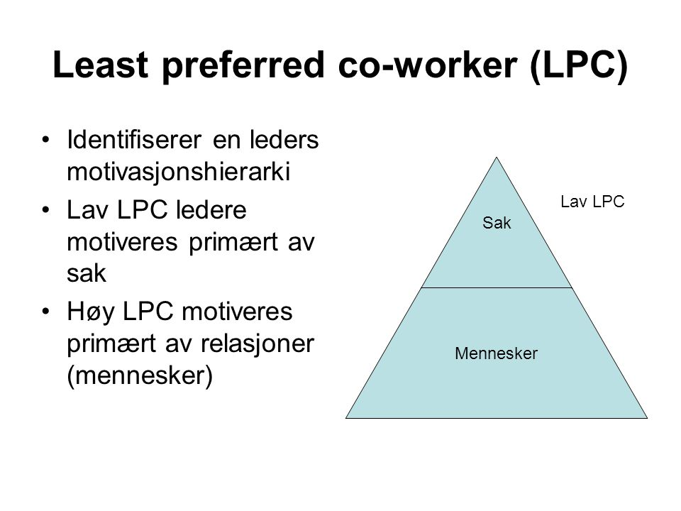 Least preferred co-worker (LPC)