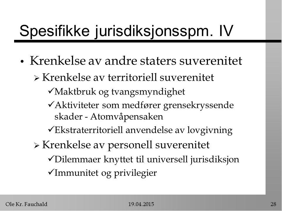 Spesifikke jurisdiksjonsspm. IV