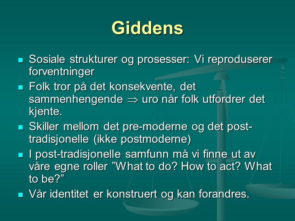 Giddens Sosiale strukturer og prosesser: Vi reproduserer forventninger