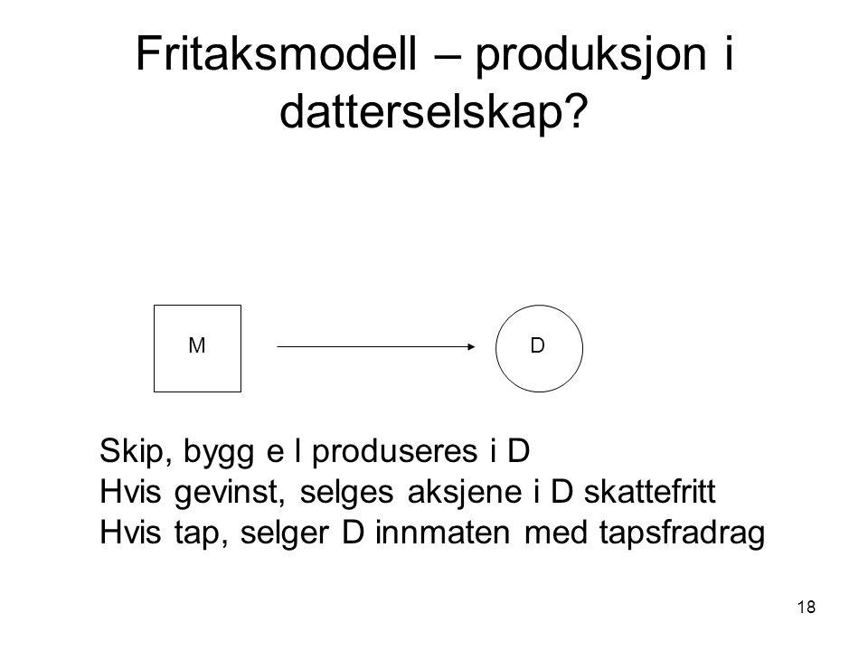 Fritaksmodell – produksjon i datterselskap