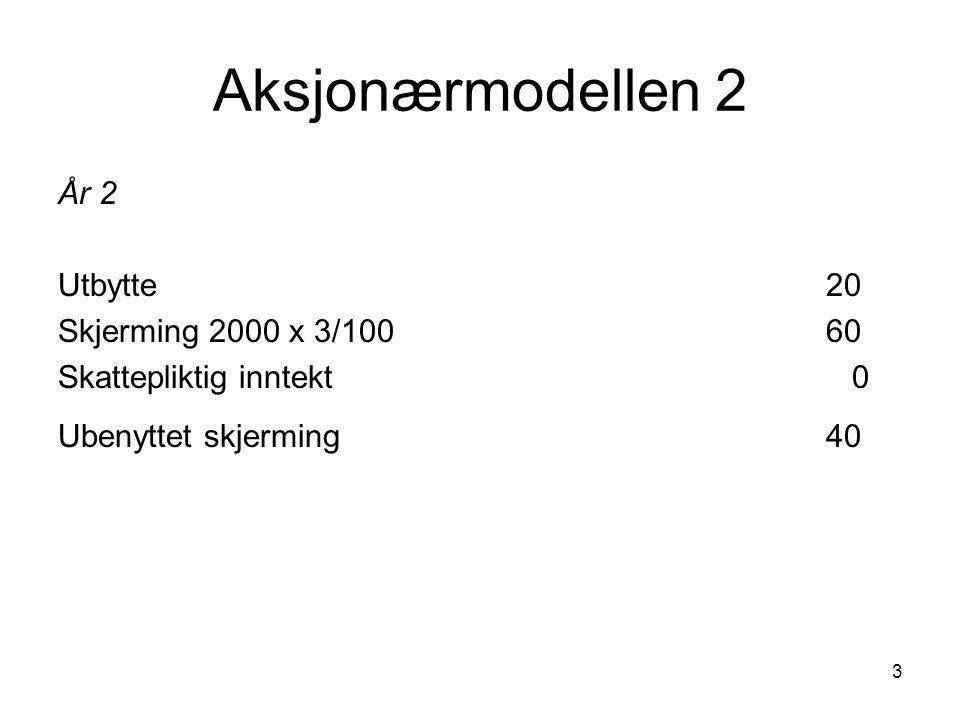 Aksjonærmodellen 2 År 2 Utbytte 20 Skjerming 2000 x 3/100 60