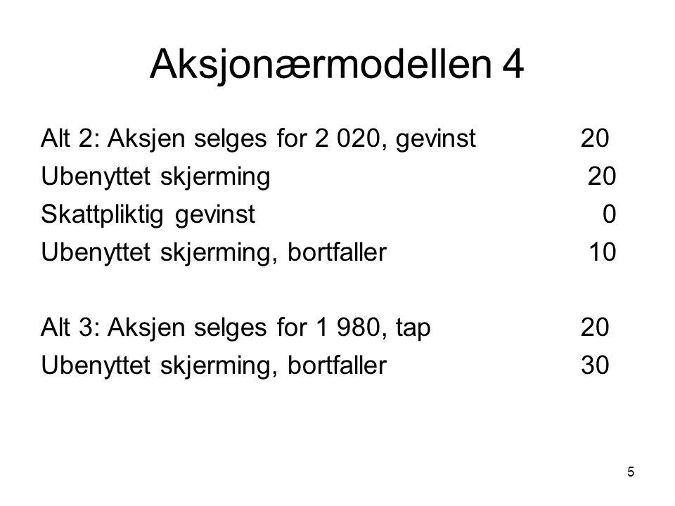 Aksjonærmodellen 4 Alt 2: Aksjen selges for 2 020, gevinst 20