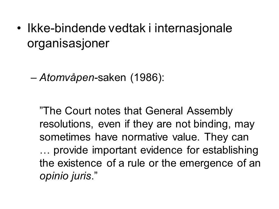 Ikke-bindende vedtak i internasjonale organisasjoner