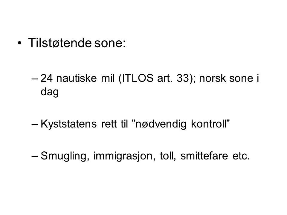 Tilstøtende sone: 24 nautiske mil (ITLOS art. 33); norsk sone i dag