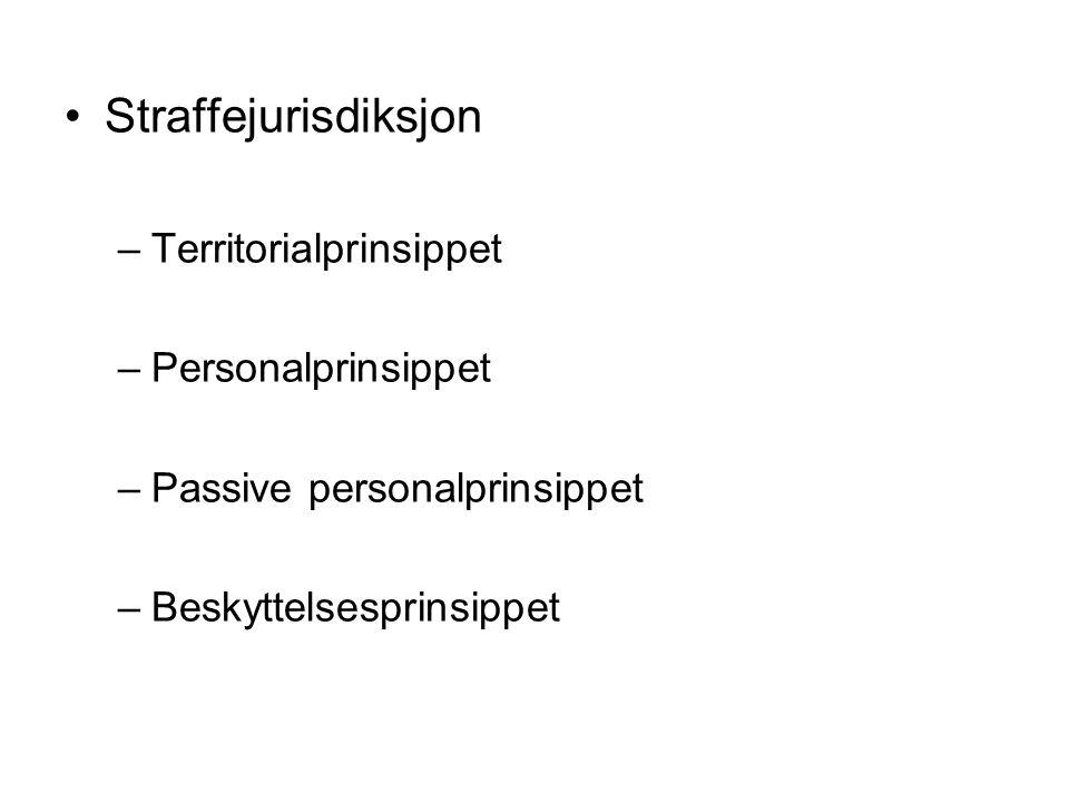 Straffejurisdiksjon Territorialprinsippet Personalprinsippet