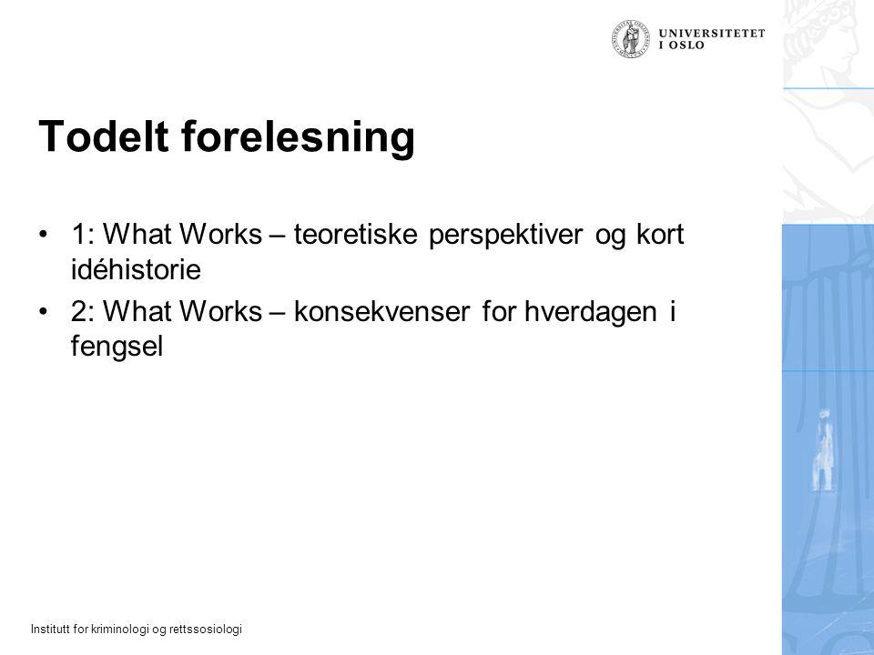 Todelt forelesning 1: What Works – teoretiske perspektiver og kort idéhistorie.