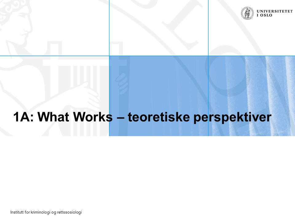 1A: What Works – teoretiske perspektiver