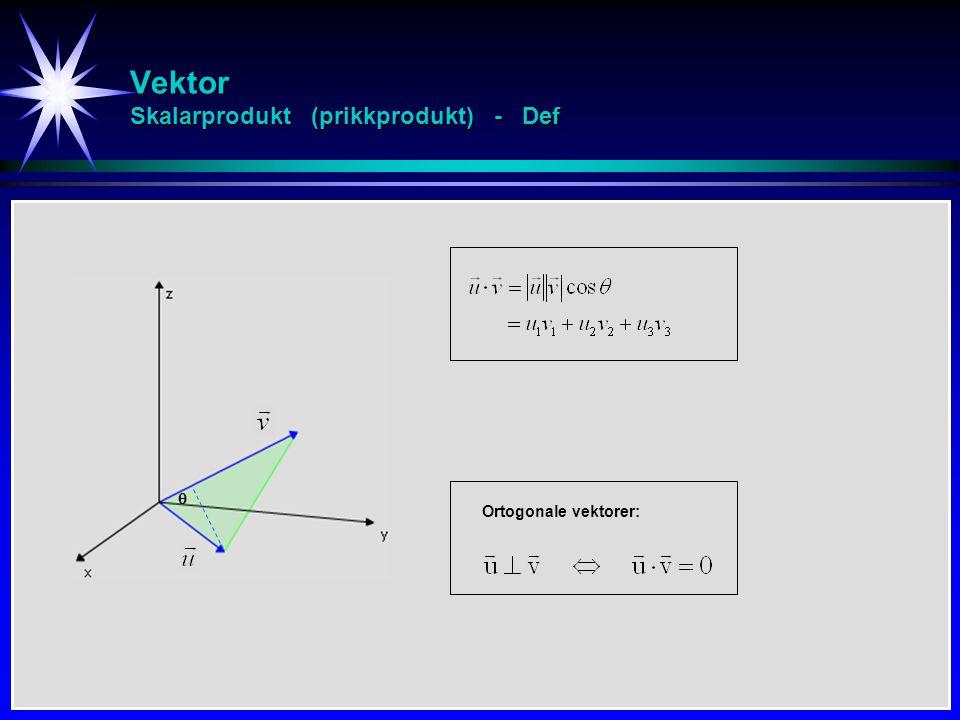 Vektor Skalarprodukt (prikkprodukt) - Def
