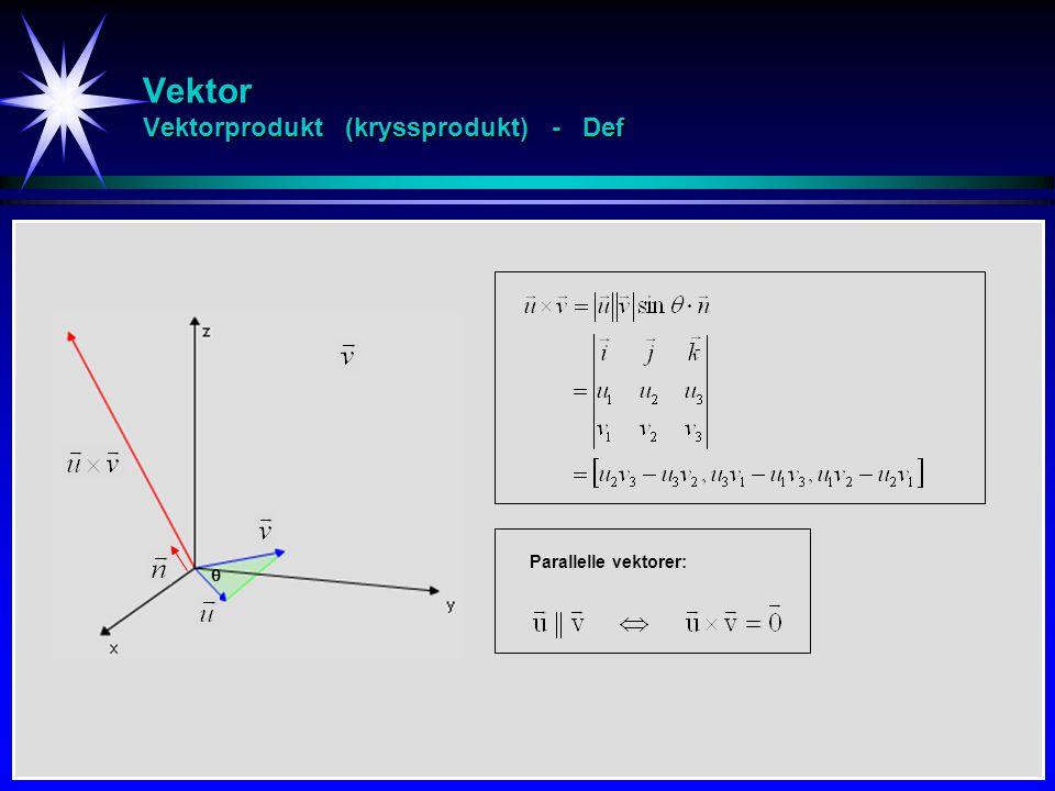 Vektor Vektorprodukt (kryssprodukt) - Def