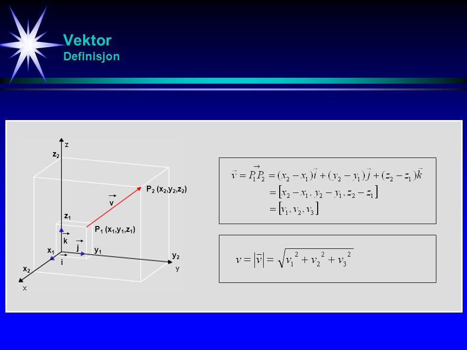 Vektor Definisjon z2 P2 (x2,y2,z2) v z1 P1 (x1,y1,z1) k j x1 y1 y2 i