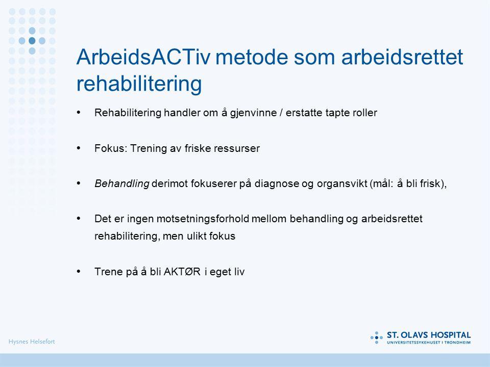 ArbeidsACTiv metode som arbeidsrettet rehabilitering