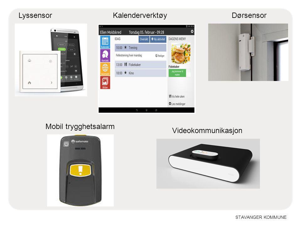 Lyssensor Kalenderverktøy Dørsensor Mobil trygghetsalarm Videokommunikasjon