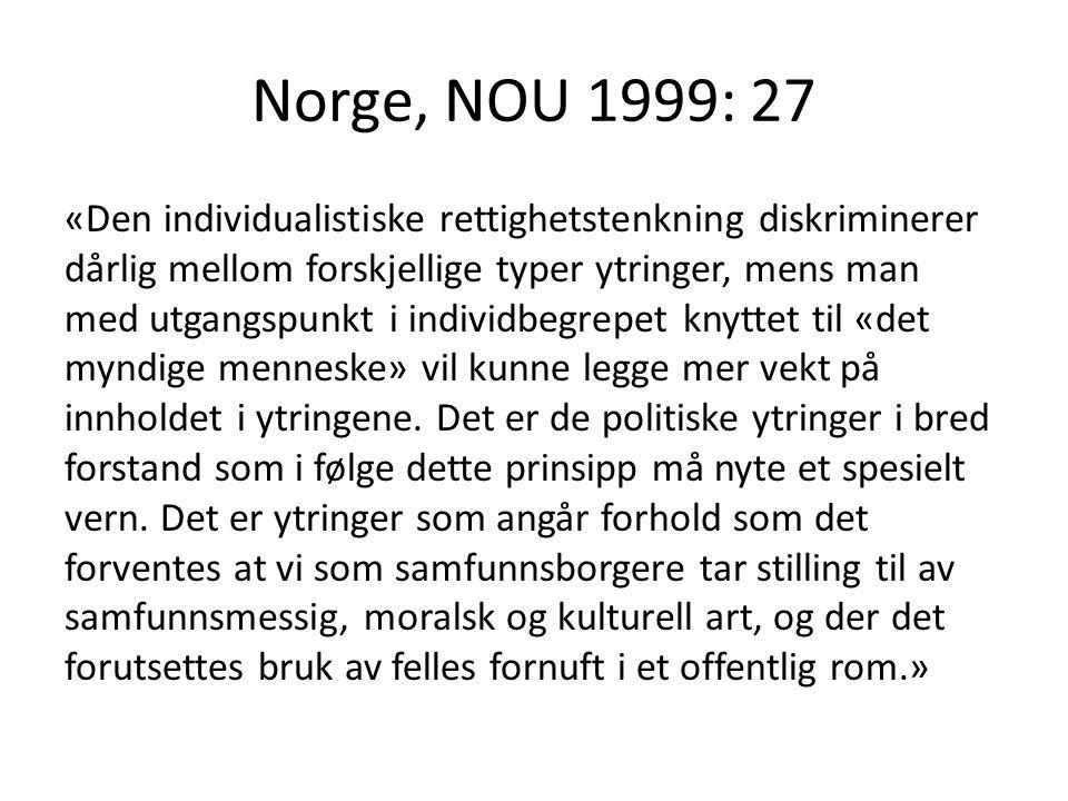 Norge, NOU 1999: 27