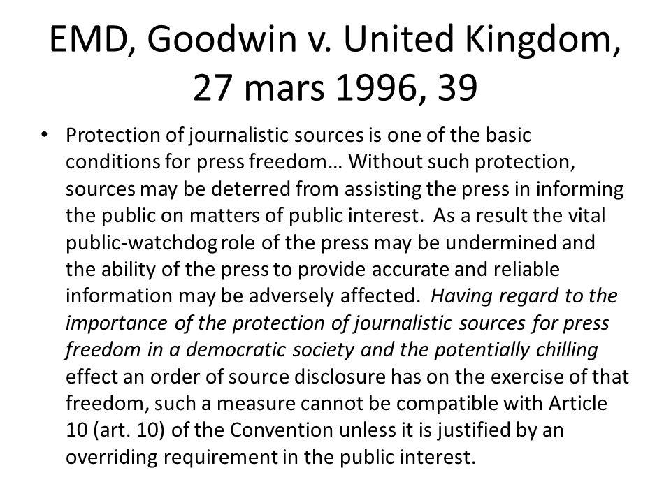 EMD, Goodwin v. United Kingdom, 27 mars 1996, 39