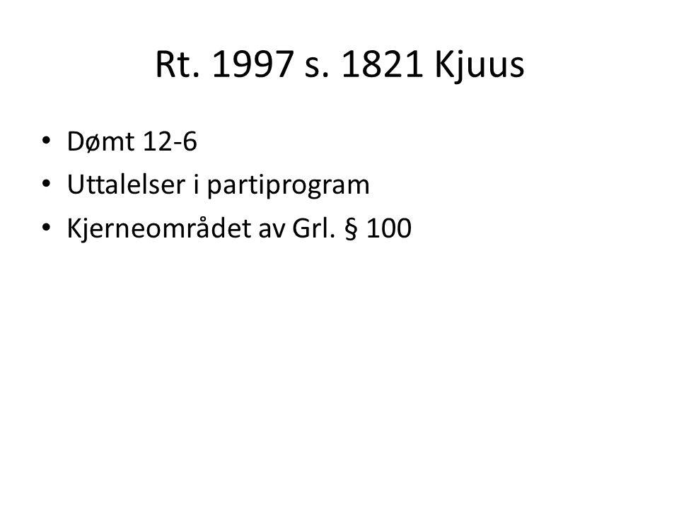 Rt. 1997 s. 1821 Kjuus Dømt 12-6 Uttalelser i partiprogram