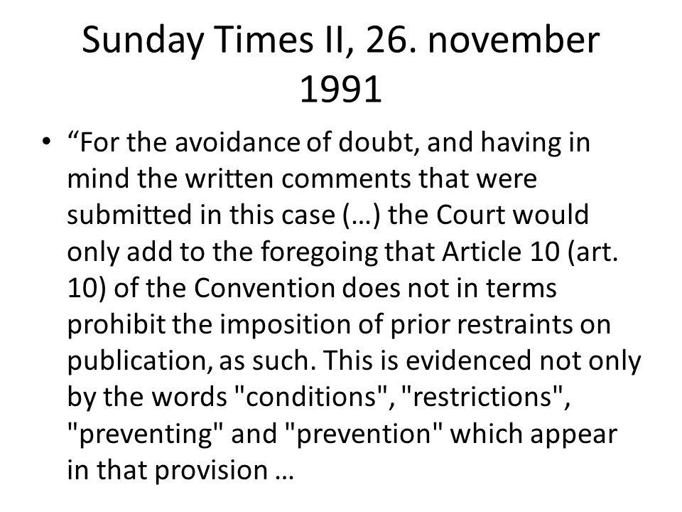 Sunday Times II, 26. november 1991