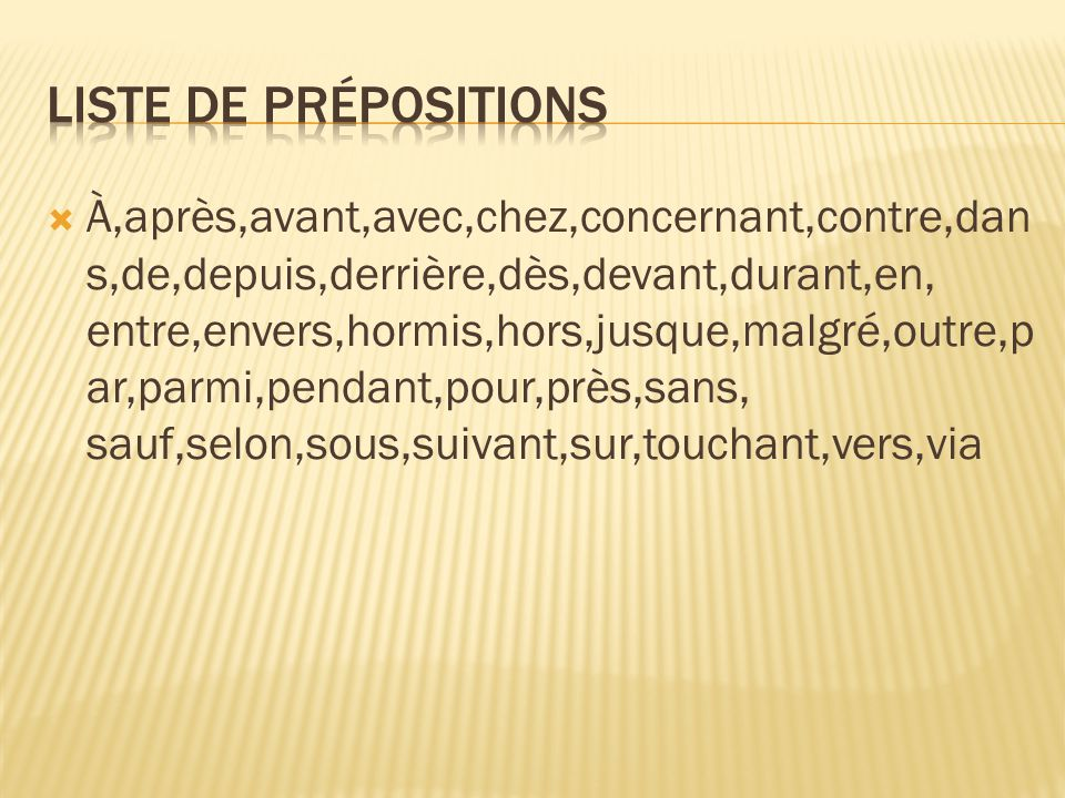 Liste de prépositions