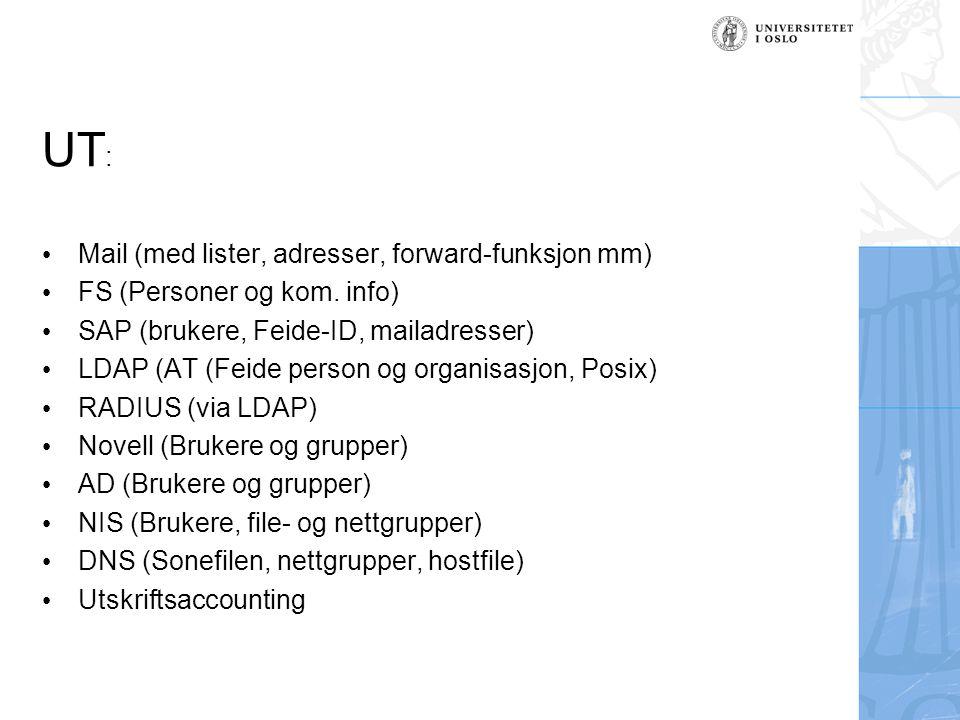UT: Mail (med lister, adresser, forward-funksjon mm)