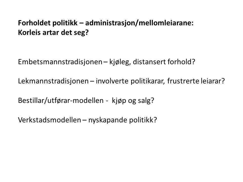 Forholdet politikk – administrasjon/mellomleiarane: