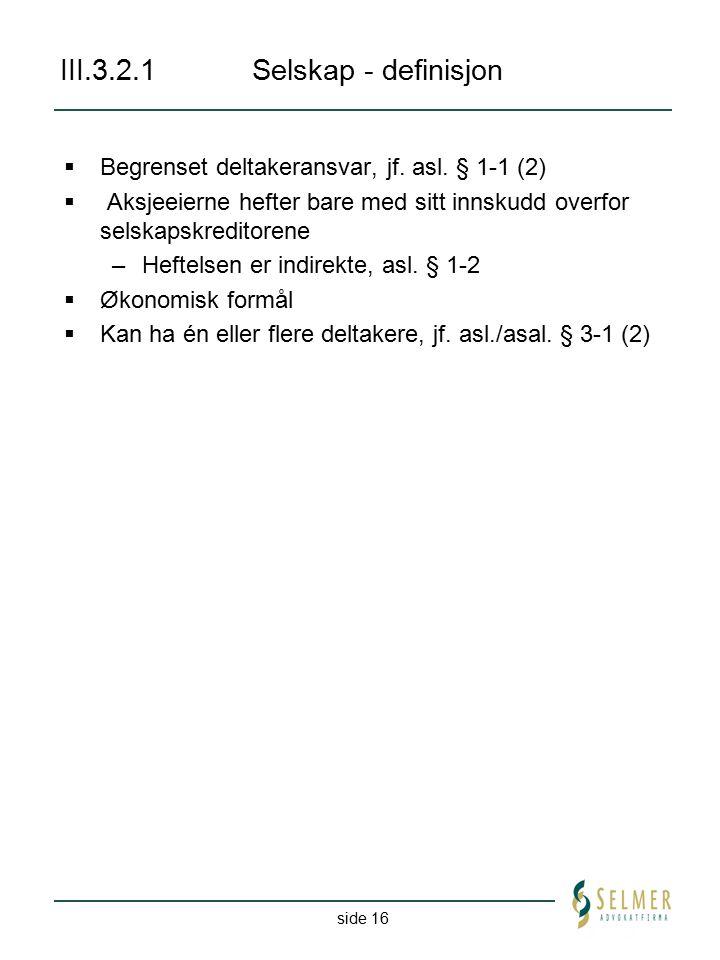 III.3.2.1 Selskap - definisjon
