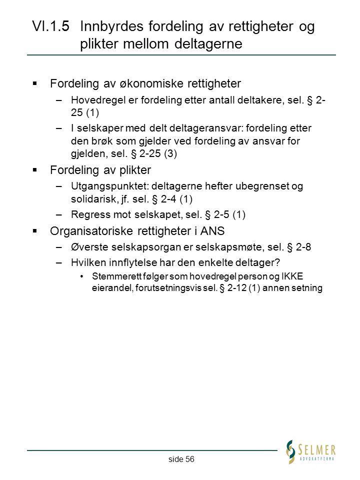 VI.1.5 Innbyrdes fordeling av rettigheter og plikter mellom deltagerne