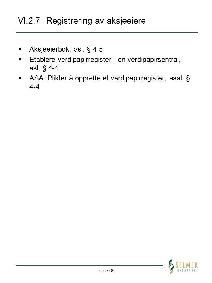VI.2.7 Registrering av aksjeeiere