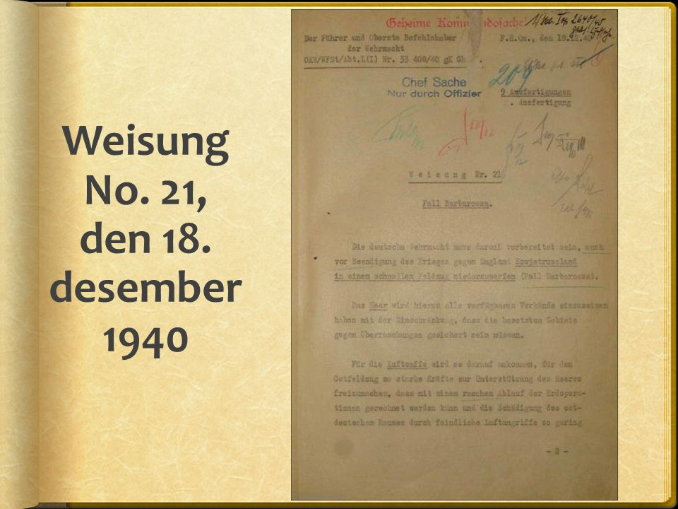 Weisung No. 21, den 18. desember 1940